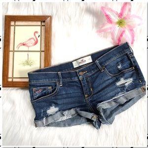 Hollister Blue Denim Daisy Duke Cutoff Jean Shorts